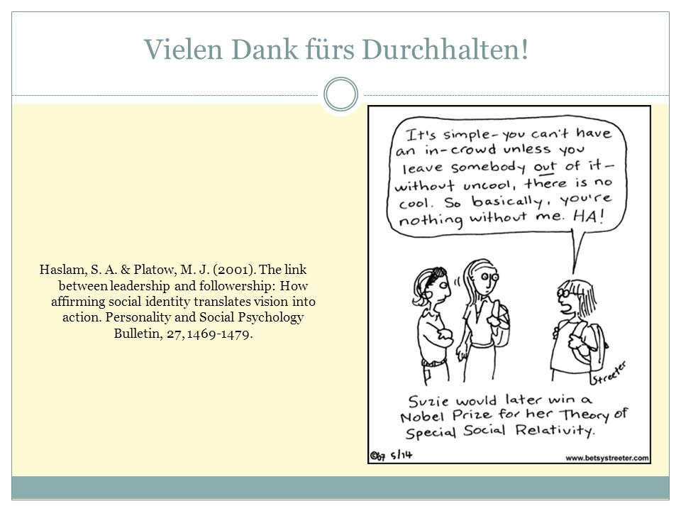 Vielen Dank fürs Durchhalten! Haslam, S. A. & Platow, M. J. (2001). The link between leadership and followership: How affirming social identity transl