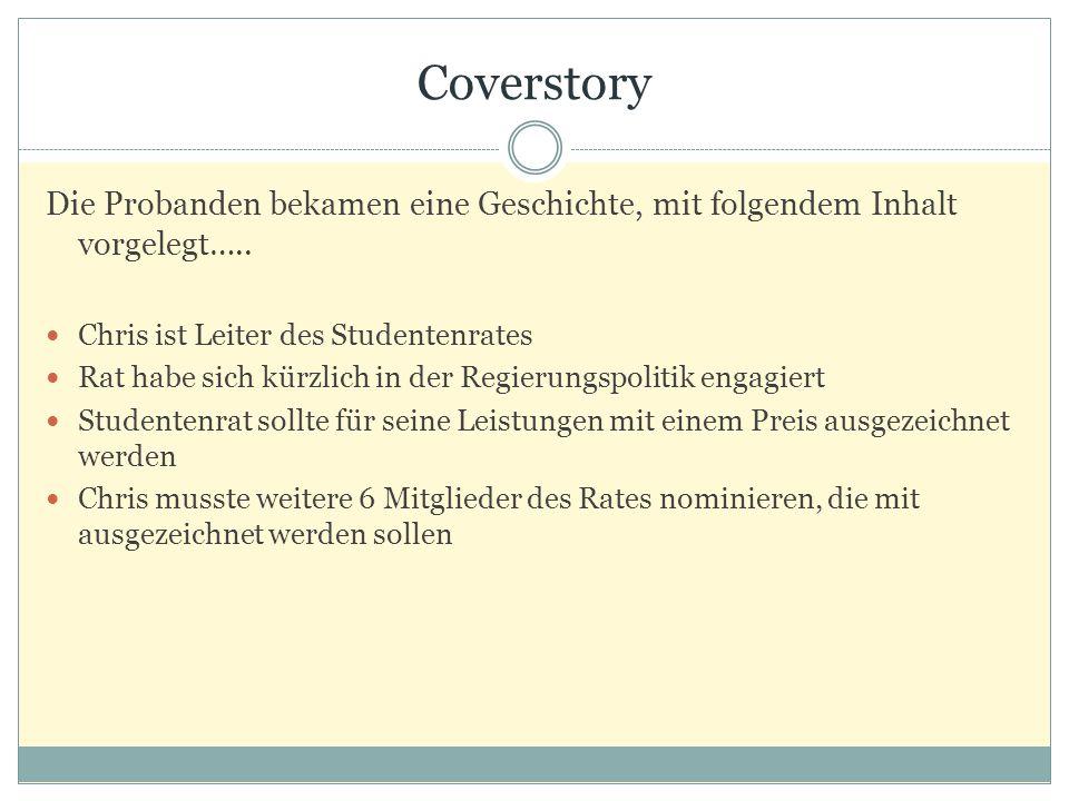 Coverstory Die Probanden bekamen eine Geschichte, mit folgendem Inhalt vorgelegt….. Chris ist Leiter des Studentenrates Rat habe sich kürzlich in der