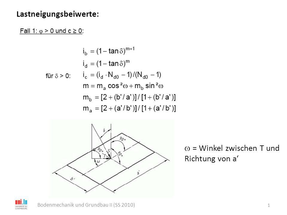 1 Bodenmechanik und Grundbau II (SS 2010) Lastneigungsbeiwerte:  = Winkel zwischen T und Richtung von a'