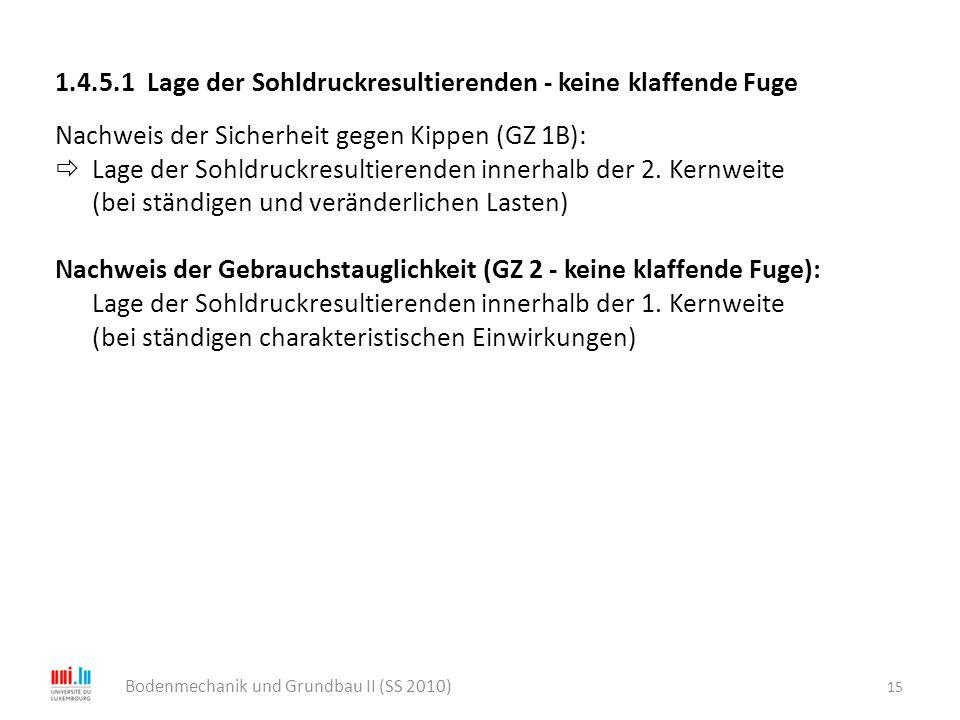 15 Bodenmechanik und Grundbau II (SS 2010) 1.4.5.1 Lage der Sohldruckresultierenden - keine klaffende Fuge Nachweis der Sicherheit gegen Kippen (GZ 1B