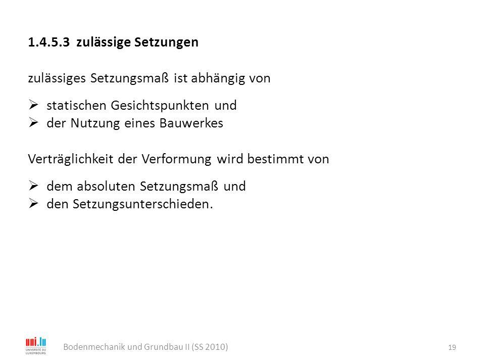 19 Bodenmechanik und Grundbau II (SS 2010) 1.4.5.3 zulässige Setzungen zulässiges Setzungsmaß ist abhängig von  statischen Gesichtspunkten und  der