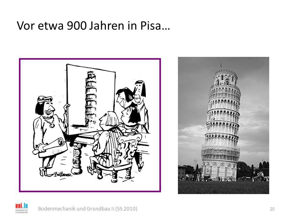 Vor etwa 900 Jahren in Pisa… 20 Bodenmechanik und Grundbau II (SS 2010) … und wir sparen 50.000 Lire, wenn wir auf die Baugrund- erkundung verzichten!