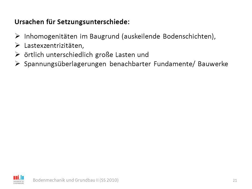 21 Bodenmechanik und Grundbau II (SS 2010) Ursachen für Setzungsunterschiede:  Inhomogenitäten im Baugrund (auskeilende Bodenschichten),  Lastexzent