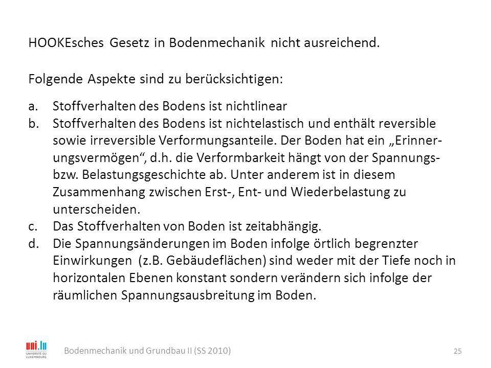 25 Bodenmechanik und Grundbau II (SS 2010) HOOKEsches Gesetz in Bodenmechanik nicht ausreichend. Folgende Aspekte sind zu berücksichtigen: a.Stoffverh