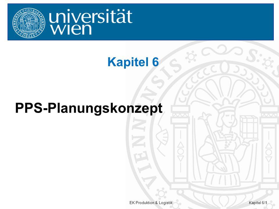 EK Produktion & LogistikKapitel 6/2 PPS-Planungskonzept PPS = (computergestützte) Produktions-Planung- & Steuerung PPC = production planning & control Hier werden die Planungsvorgaben der Programmplanung präzisiert, umgesetzt bzw.