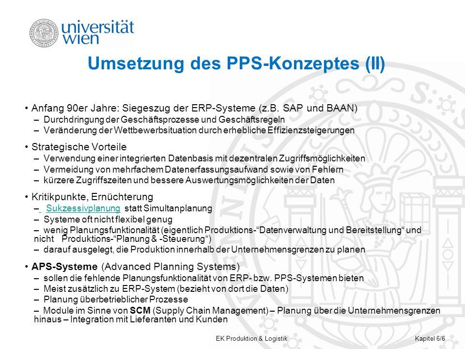 EK Produktion & LogistikKapitel 6/6 Umsetzung des PPS-Konzeptes (II) Anfang 90er Jahre: Siegeszug der ERP-Systeme (z.B. SAP und BAAN) – Durchdringung