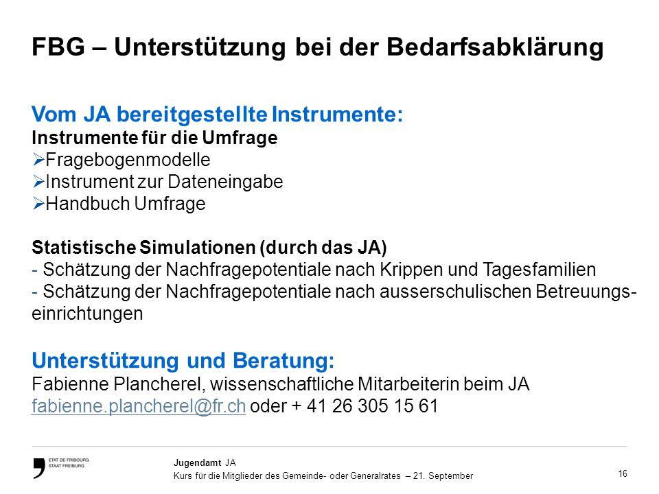 16 Jugendamt JA Kurs für die Mitglieder des Gemeinde- oder Generalrates – 21.