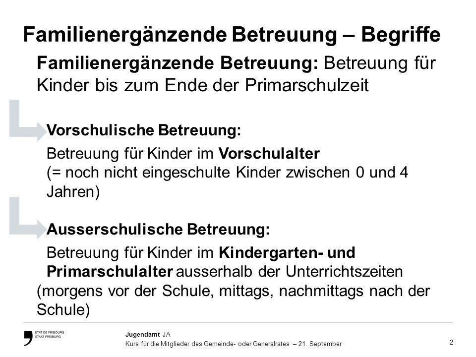 13 Service de l'enfance et de la jeunesse SEJ Cours aux élus communaux, 21 septembre 2011 Rechtlicher Rahmen Dieses Gesetz gilt für Betreuungseinrichtungen, die: a)eine familienergänzende Betreuung für Kinder bis zum Ende der Primarschulzeit anbieten; b)über eine Bewilligung im Sinne der Gesetzgebung über die Aufnahme von Kindern ausserhalb des Elternhauses verfügen oder eine entsprechende Tätigkeit angemeldet haben; GELTUNGSBEREICH Ein einziges Gesetz für die vor- und ausserschulische Betreuung