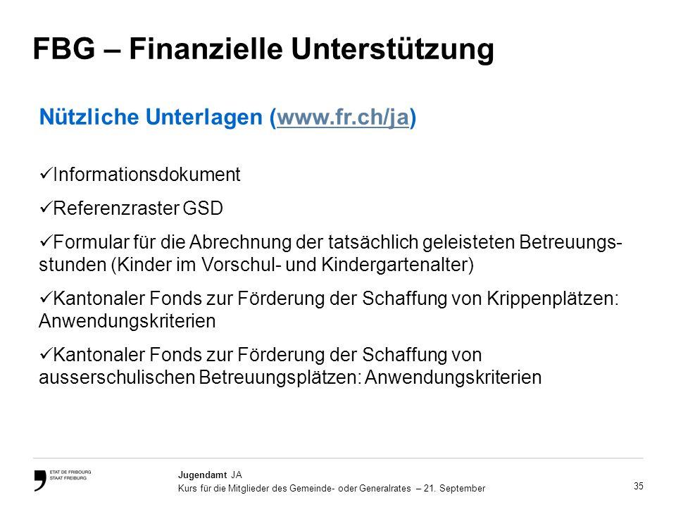 35 Jugendamt JA Kurs für die Mitglieder des Gemeinde- oder Generalrates – 21.