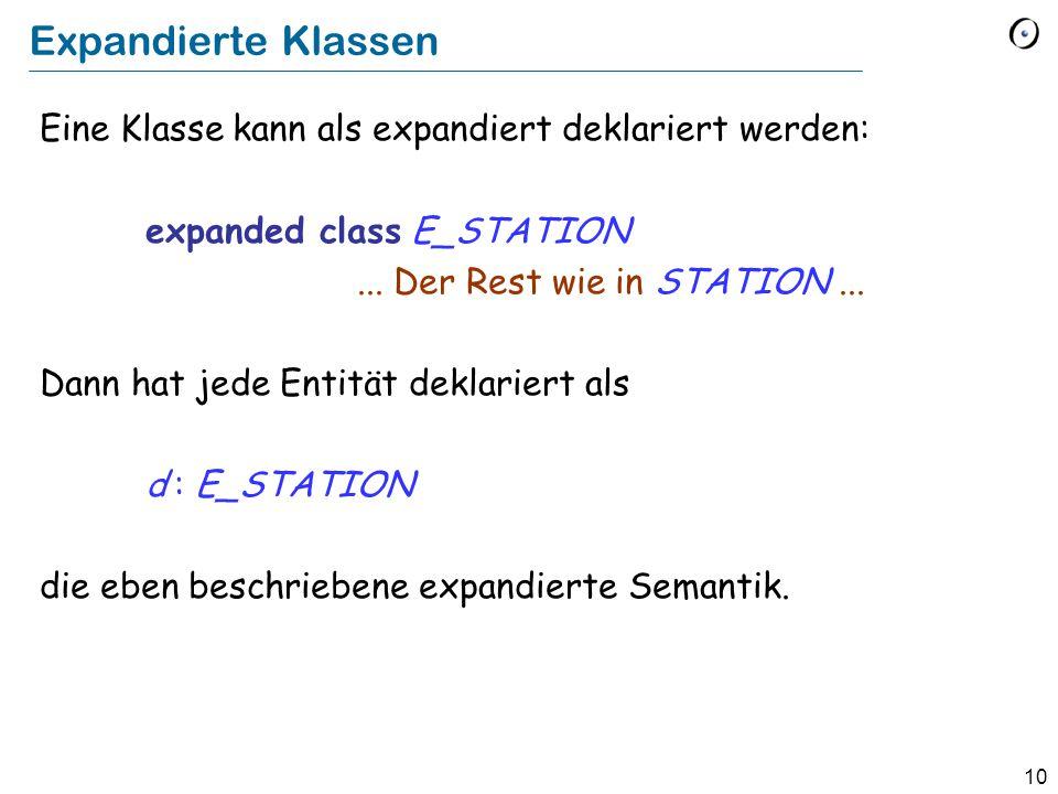 10 Expandierte Klassen Eine Klasse kann als expandiert deklariert werden: expanded class E_STATION...
