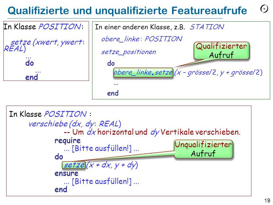 19 In Klasse POSITION : verschiebe (dx, dy : REAL) -- Um dx horizontal und dy Vertikale verschieben.