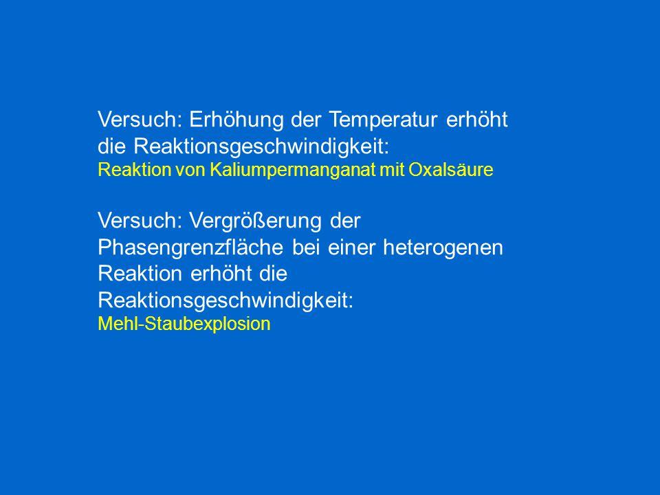 Versuch: Erhöhung der Temperatur erhöht die Reaktionsgeschwindigkeit: Reaktion von Kaliumpermanganat mit Oxalsäure Versuch: Vergrößerung der Phasengre