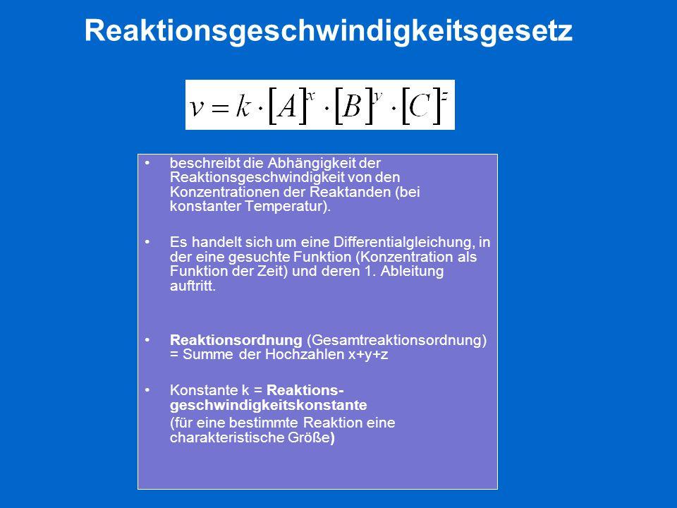 Reaktionsgeschwindigkeitsgesetz beschreibt die Abhängigkeit der Reaktionsgeschwindigkeit von den Konzentrationen der Reaktanden (bei konstanter Temper