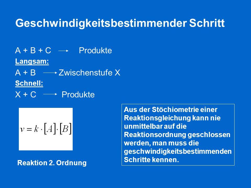 Geschwindigkeitsbestimmender Schritt A + B + C Produkte Langsam: A + B Zwischenstufe X Schnell: X + C Produkte Aus der Stöchiometrie einer Reaktionsgl