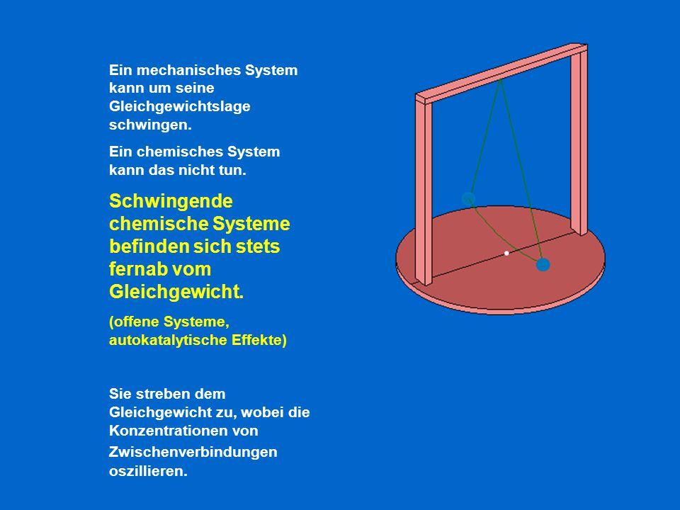 Ein mechanisches System kann um seine Gleichgewichtslage schwingen. Ein chemisches System kann das nicht tun. Schwingende chemische Systeme befinden s