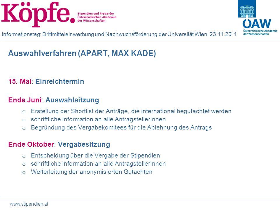 Informationstag: Drittmitteleinwerbung und Nachwuchsförderung der Universität Wien| 23.11.2011 Auswahlverfahren (APART, MAX KADE) 15.