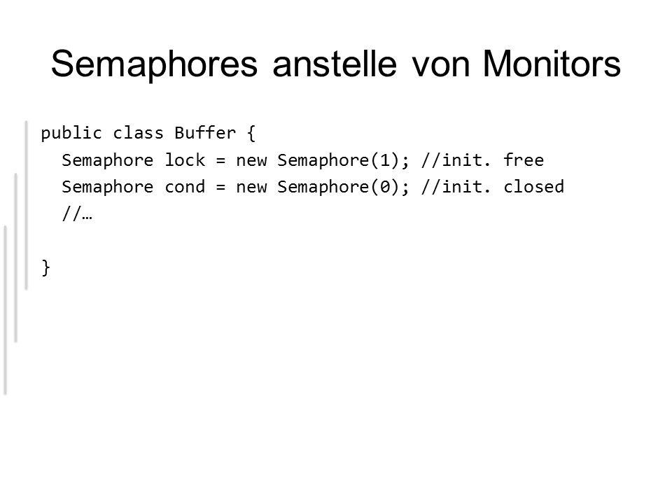 Semaphores anstelle von Monitors public class Buffer { Semaphore lock = new Semaphore(1); //init.