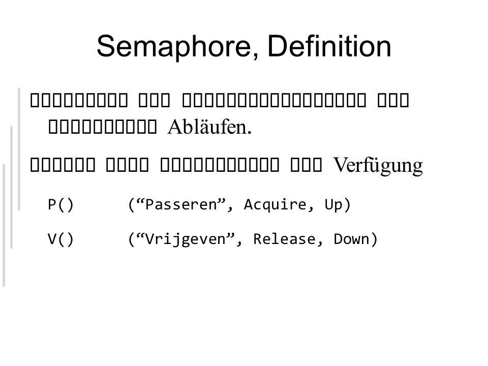 Semaphore, Definition Konstrukt zur Synchoronisierung von parallelen Abläufen.