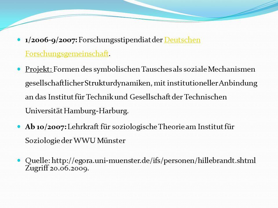1/2006-9/2007: Forschungsstipendiat der Deutschen Forschungsgemeinschaft.Deutschen Forschungsgemeinschaft Projekt: Formen des symbolischen Tausches al