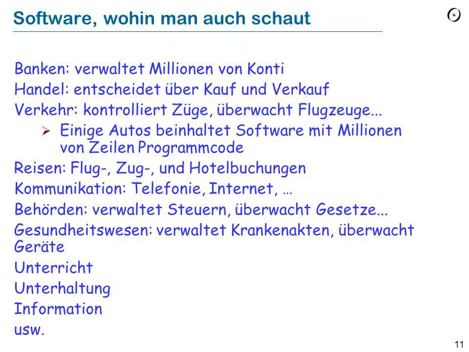 11 Software, wohin man auch schaut Banken: verwaltet Millionen von Konti Handel: entscheidet über Kauf und Verkauf Verkehr: kontrolliert Züge, überwacht Flugzeuge...