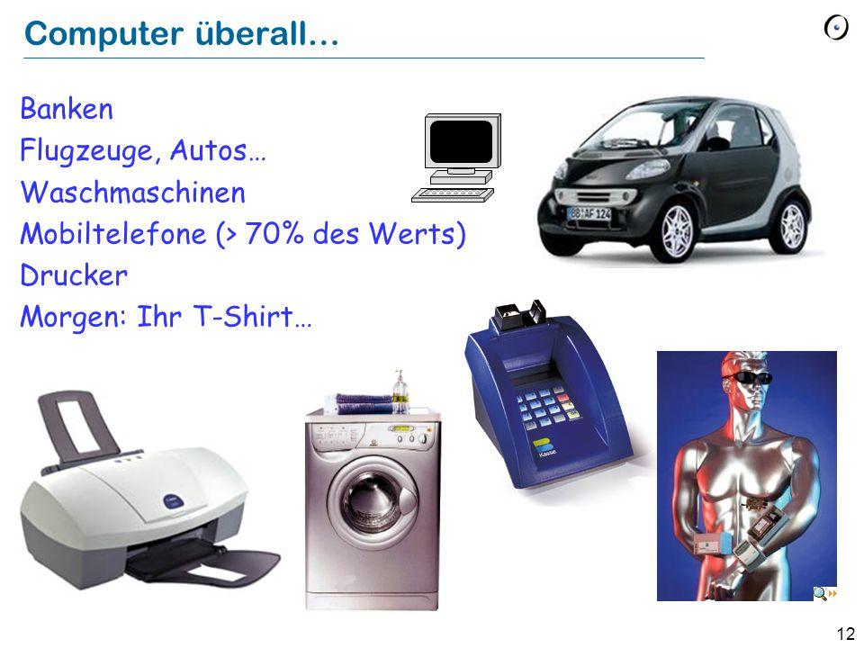 12 Computer überall… Banken Flugzeuge, Autos… Waschmaschinen Mobiltelefone (> 70% des Werts) Drucker Morgen: Ihr T-Shirt…