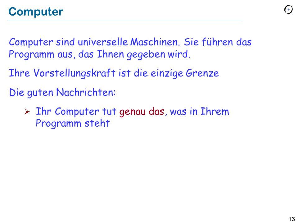 13 Computer Computer sind universelle Maschinen.