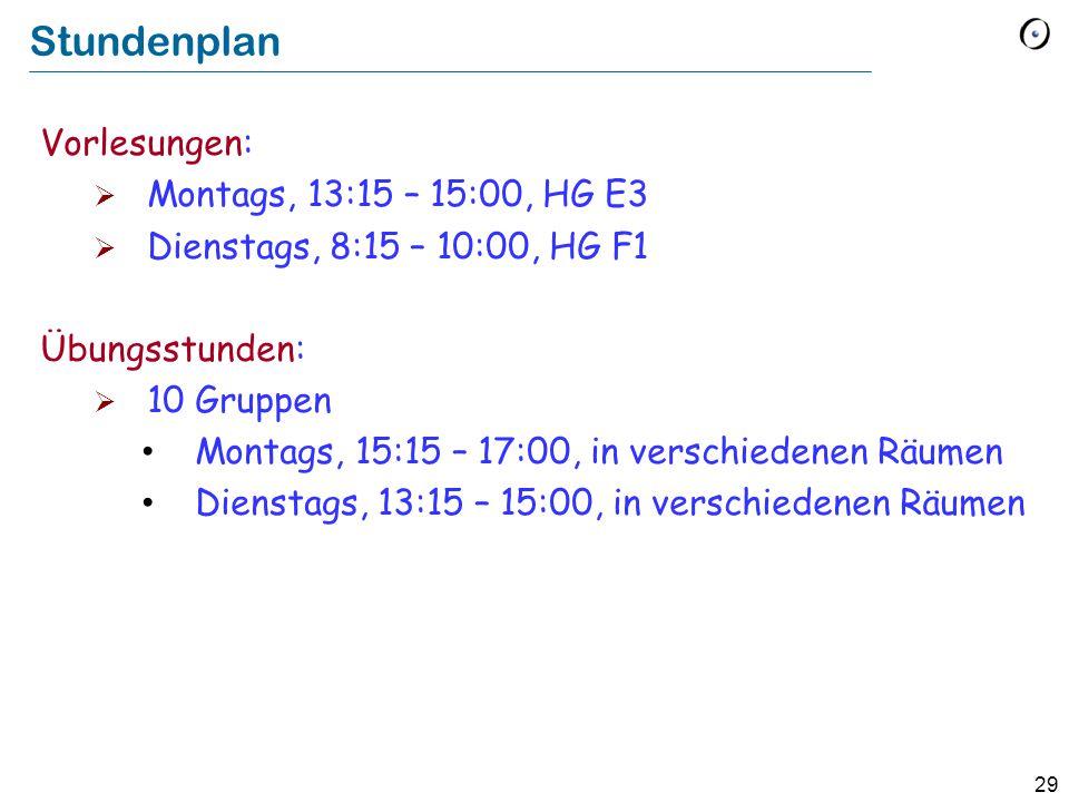 29 Stundenplan Vorlesungen:  Montags, 13:15 – 15:00, HG E3  Dienstags, 8:15 – 10:00, HG F1 Übungsstunden:  10 Gruppen Montags, 15:15 – 17:00, in verschiedenen Räumen Dienstags, 13:15 – 15:00, in verschiedenen Räumen