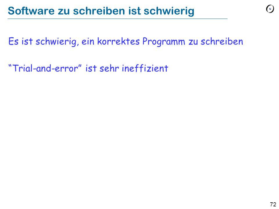 72 Software zu schreiben ist schwierig Es ist schwierig, ein korrektes Programm zu schreiben Trial-and-error ist sehr ineffizient