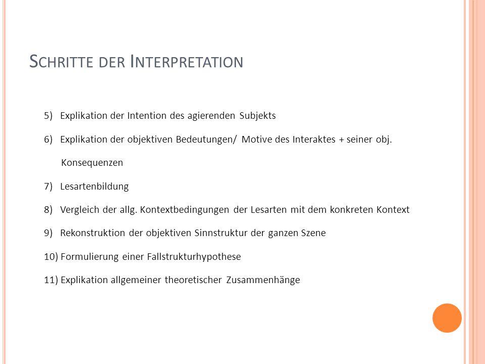 S CHRITTE DER I NTERPRETATION 5) Explikation der Intention des agierenden Subjekts 6) Explikation der objektiven Bedeutungen/ Motive des Interaktes + seiner obj.