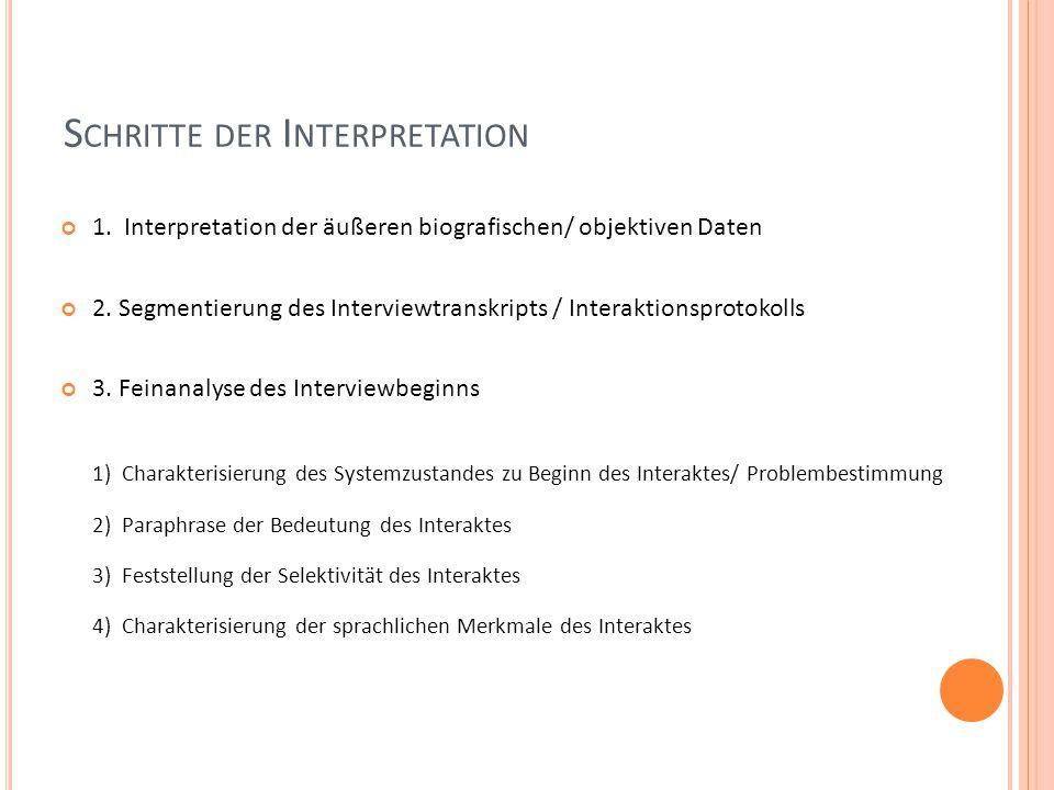 S CHRITTE DER I NTERPRETATION 1. Interpretation der äußeren biografischen/ objektiven Daten 2.