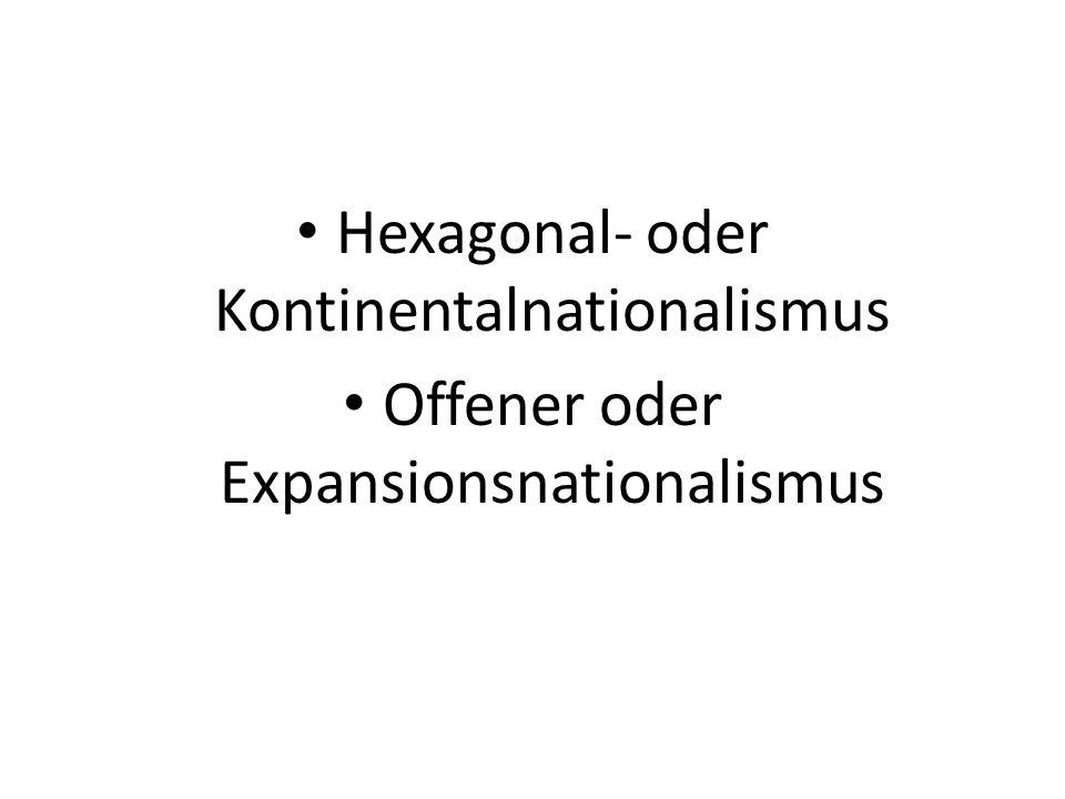Hexagonal- oder Kontinentalnationalismus Offener oder Expansionsnationalismus