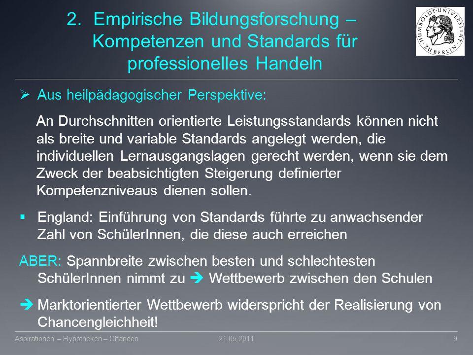 2.Empirische Bildungsforschung – Kompetenzen und Standards für professionelles Handeln  Aus heilpädagogischer Perspektive: An Durchschnitten orientie