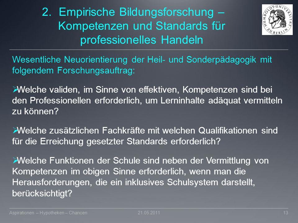 2.Empirische Bildungsforschung – Kompetenzen und Standards für professionelles Handeln Wesentliche Neuorientierung der Heil- und Sonderpädagogik mit f