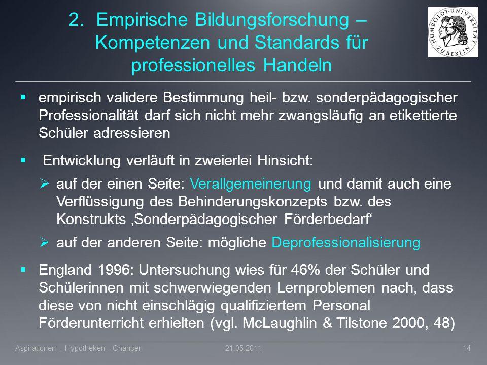 2.Empirische Bildungsforschung – Kompetenzen und Standards für professionelles Handeln  empirisch validere Bestimmung heil- bzw. sonderpädagogischer