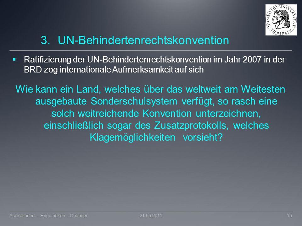 3.UN-Behindertenrechtskonvention  Ratifizierung der UN-Behindertenrechtskonvention im Jahr 2007 in der BRD zog internationale Aufmerksamkeit auf sich