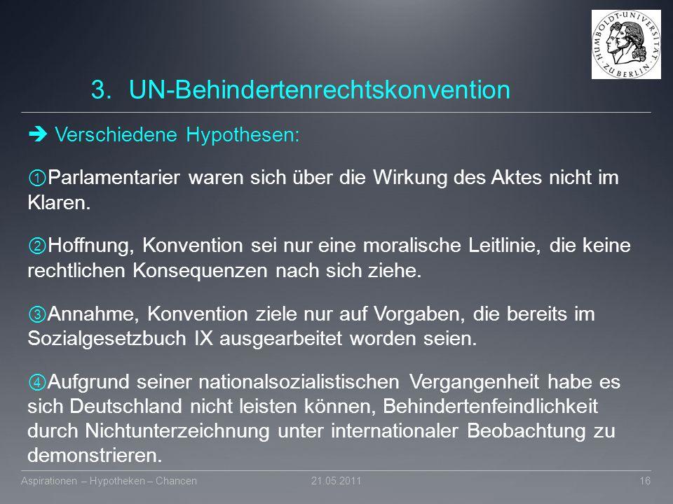 3.UN-Behindertenrechtskonvention  Verschiedene Hypothesen: ① Parlamentarier waren sich über die Wirkung des Aktes nicht im Klaren. ② Hoffnung, Konven