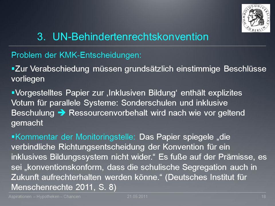 3.UN-Behindertenrechtskonvention Problem der KMK-Entscheidungen:  Zur Verabschiedung müssen grundsätzlich einstimmige Beschlüsse vorliegen  Vorgeste