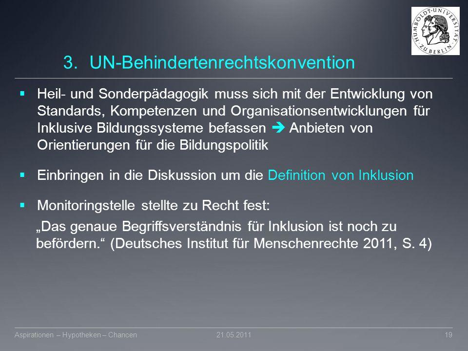 3.UN-Behindertenrechtskonvention  Heil- und Sonderpädagogik muss sich mit der Entwicklung von Standards, Kompetenzen und Organisationsentwicklungen f