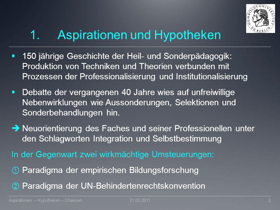 1.Aspirationen und Hypotheken  150 jährige Geschichte der Heil- und Sonderpädagogik: Produktion von Techniken und Theorien verbunden mit Prozessen de