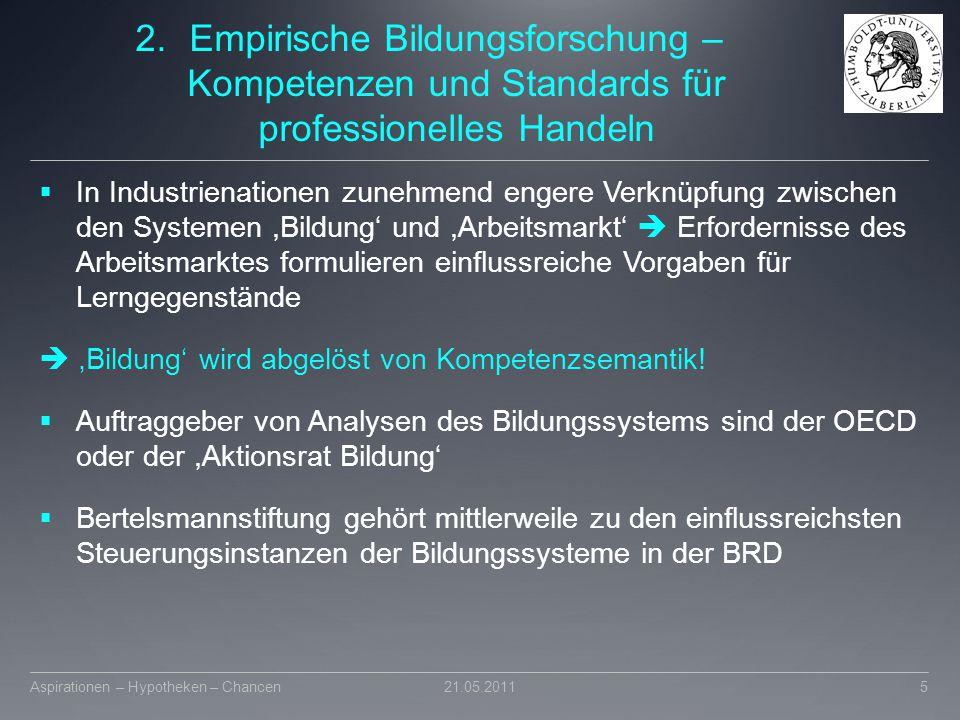 2.Empirische Bildungsforschung – Kompetenzen und Standards für professionelles Handeln  In Industrienationen zunehmend engere Verknüpfung zwischen de