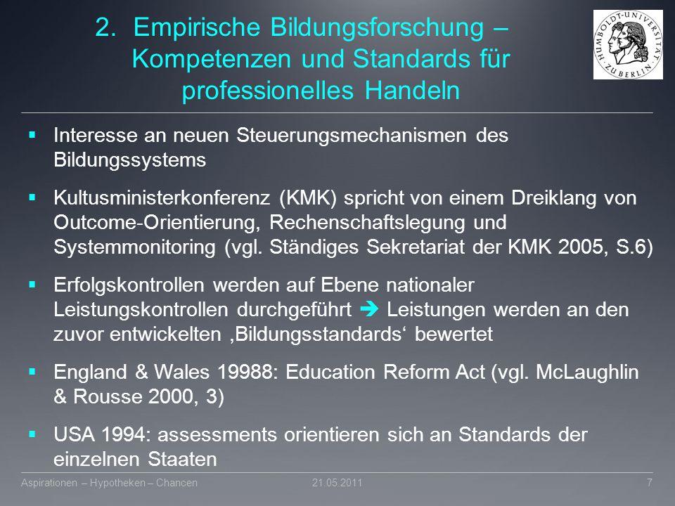 2.Empirische Bildungsforschung – Kompetenzen und Standards für professionelles Handeln  Interesse an neuen Steuerungsmechanismen des Bildungssystems
