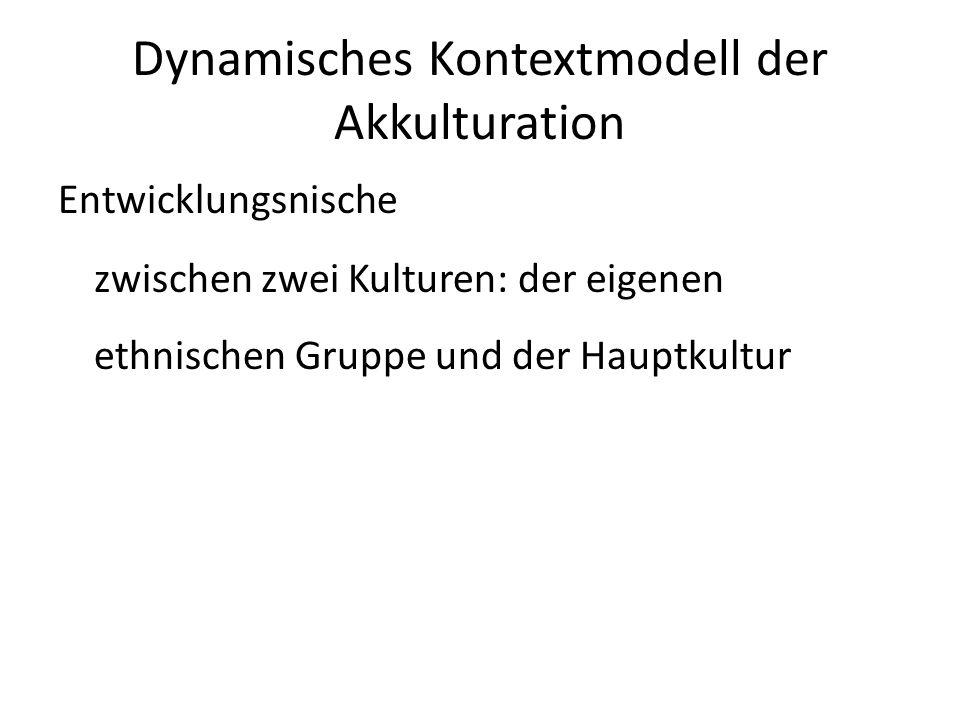 Dynamisches Kontextmodell der Akkulturation Entwicklungsnische zwischen zwei Kulturen: der eigenen ethnischen Gruppe und der Hauptkultur