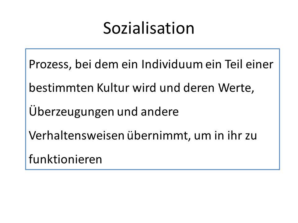 Sozialisation Prozess, bei dem ein Individuum ein Teil einer bestimmten Kultur wird und deren Werte, Überzeugungen und andere Verhaltensweisen übernim