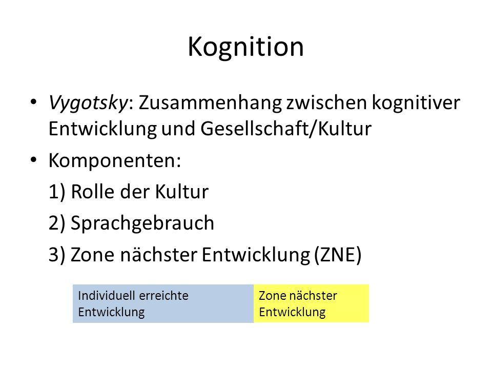 Kognition Vygotsky: Zusammenhang zwischen kognitiver Entwicklung und Gesellschaft/Kultur Komponenten: 1) Rolle der Kultur 2) Sprachgebrauch 3) Zone nä