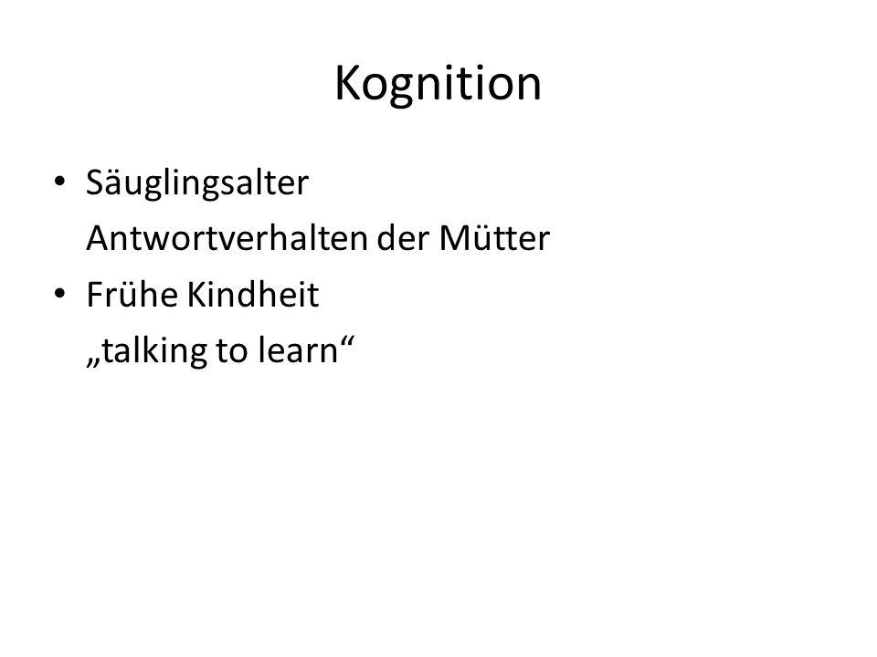 """Kognition Säuglingsalter Antwortverhalten der Mütter Frühe Kindheit """"talking to learn"""""""