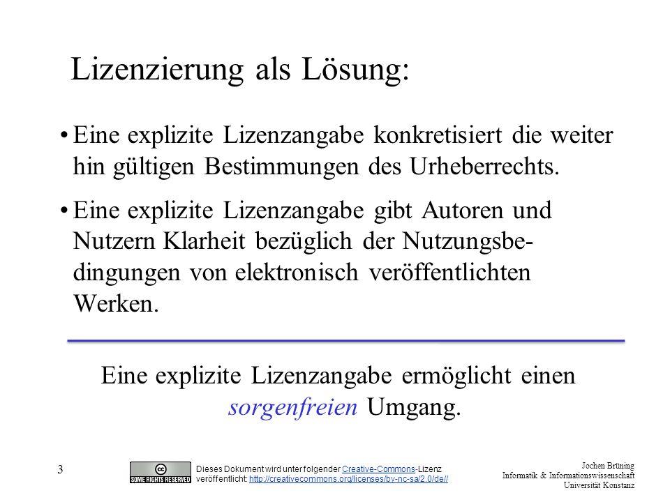 """Jochen Brüning Informatik & Informationswissenschaft Universität Konstanz Dieses Dokument wird unter folgender Creative-Commons-LizenzCreative-Commons veröffentlicht: http://creativecommons.org/licenses/by-nc-sa/2.0/de//http://creativecommons.org/licenses/by-nc-sa/2.0/de// 4 Alternativen zum ©, einige Initiativen: Creative Commons http://creativecommons.org/ Open Source Initiative OSI http://www.opensource.org/licenses/cpl.php Free Art License http://artlibre.org/ The Open Gaming Foundation http://www.opengamingfoundation.org/licenses.html Open Access http://www.biomedcentral.com/openaccess/ Public Library of Science PLoS http://www.plos.org/ Mit dem Ziel: """"(...das Ausüben von Kunst [und Wissenschaft] zu unterstützen und) vor den scheinbar einzigen gültigen Regeln des Marktes zu schützen."""
