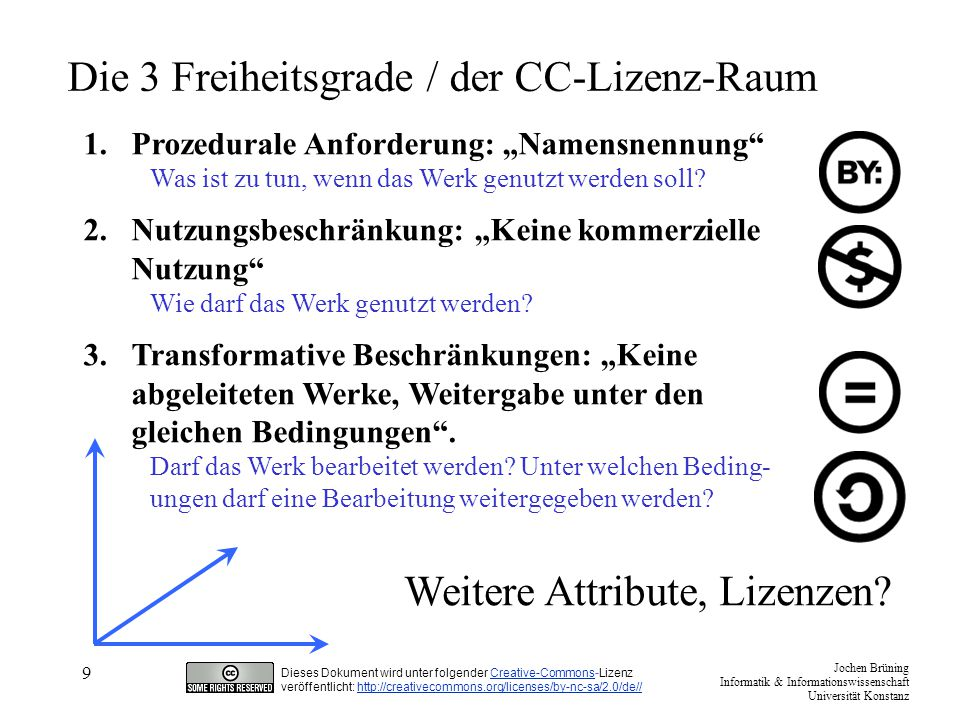 "Jochen Brüning Informatik & Informationswissenschaft Universität Konstanz Dieses Dokument wird unter folgender Creative-Commons-LizenzCreative-Commons veröffentlicht: http://creativecommons.org/licenses/by-nc-sa/2.0/de//http://creativecommons.org/licenses/by-nc-sa/2.0/de// 10 Ein halbes Dutzend Kombinationen Namensnennung http://creativecommons.org/licenses/by/2.0/de/ Namensnennung - keine kommerzielle Nutzung http://creativecommons.org/licenses/by-nc/2.0/de/ Namensnennung - keine kommerzielle Nutzung – Weitergabe unter gleichen Bedingungen http://creativecommons.org/licenses/by-nc-sa/2.0/de/ Namensnennung - keine kommerzielle Nutzung – Keine Bearbeitung http://creativecommons.org/licenses/by-nc-nd/2.0/de/ Namensnennung -Weitergabe unter gleichen Bedingungen http://creativecommons.org/licenses/by-sa/2.0/de/ Namensnennung - Keine Bearbeitung http://creativecommons.org/licenses/by-nd/2.0/de/ 50+ ""NC : http://wiki.creativecommons.org/wiki/NonCommercial_use_caseshttp://wiki.creativecommons.org/wiki/NonCommercial_use_cases"