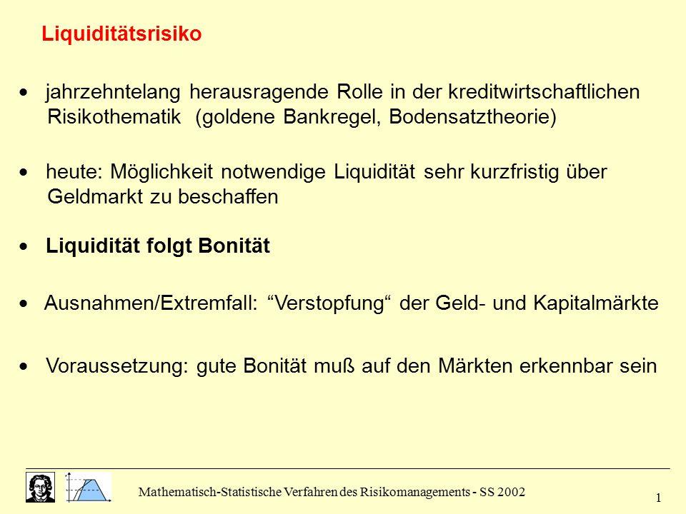 Mathematisch-Statistische Verfahren des Risikomanagements - SS 2002 1  jahrzehntelang herausragende Rolle in der kreditwirtschaftlichen Risikothemati