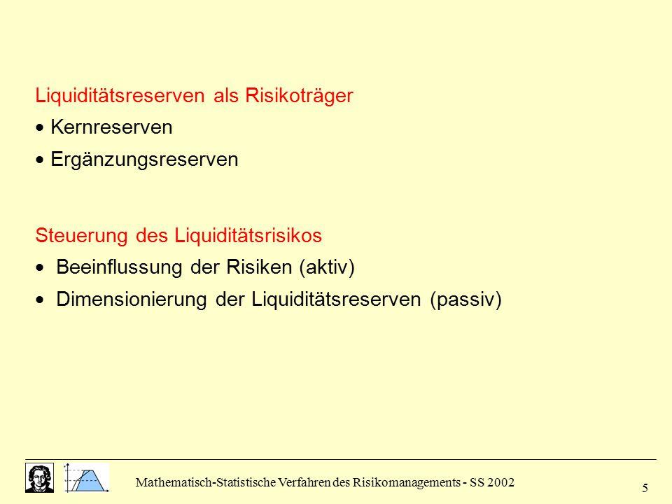 Mathematisch-Statistische Verfahren des Risikomanagements - SS 2002 5 Liquiditätsreserven als Risikoträger  Kernreserven  Ergänzungsreserven Steueru