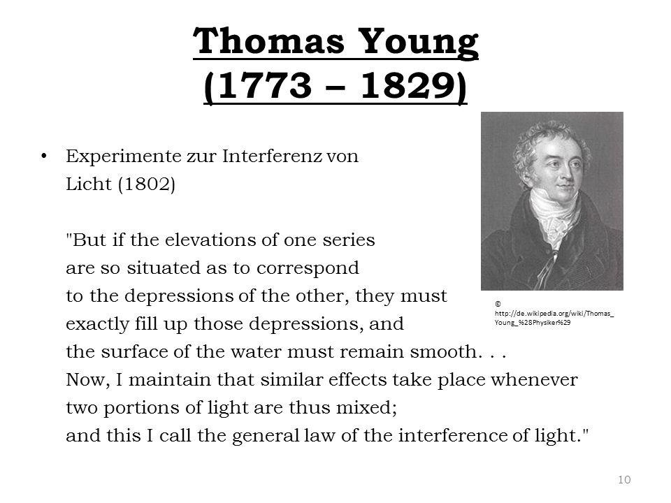 Thomas Young (1773 – 1829) Experimente zur Interferenz von Licht (1802)